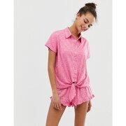 チェルシーペアーズ Chelsea Peers レディース インナー・下着 パジャマ・上下セット【love heart printed pyjama short set in gift box】Pink