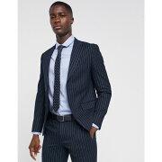 モス ブラザーズ MOSS BROS メンズ アウター スーツ・ジャケット【Moss London skinny suit jacket in navy pinstripe】Navy