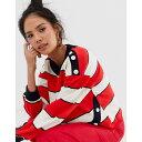 ムーンリバー Moon River レディース トップス スウェット・トレーナー【stripe sweatshirt】Red stripe