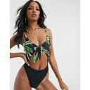 ショッピングウェア ユニーク21 UNIQUE21 レディース ワンピース 水着・ビーチウェア【Unique 21 Palm Mix Tie Front Swimsuit】Palm print/black