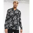 トップマン Topman メンズ シャツ トップス【long sleeve shirt with floral print in black】Black