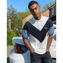 ショッピングフレッドペリー フレッドペリー Fred Perry メンズ ポロシャツ トップス【Chevron Polo Shirt In White And Black】Blue slate