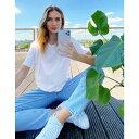 ショッピングマンゴー マンゴ Mango レディース Tシャツ トップス【organic cotton oversized boyfriend tee in white】White