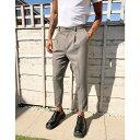 エイソス ASOS DESIGN メンズ ボトムス・パンツ 【tapered smart trouser in textured camel with turn up】Camel
