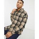 ショッピングワイシャツ エイソス ASOS DESIGN メンズ シャツ トップス【wool mix 90s oversized shirt in brown tartan check】Brown
