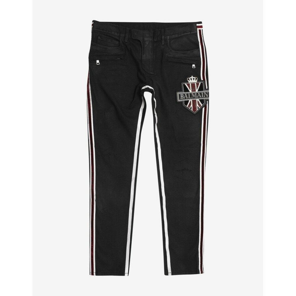 バルマン Balmain メンズ ボトムス・パンツ ジーンズ・デニム【Distressed Jeans with Badge】Black