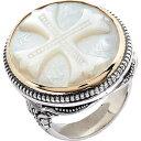 コンスタンティーノ KONSTANTINO レディース 指輪・リング ジュエリー・アクセサリー【Trillion Embossed Cross Mother-of-Pearl Ring】Silver/Gold/Mother Of Pearl