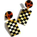 サンシャイン ティエンダ SUNSHINE TIENDA レディース イヤリング・ピアス ジュエリー・アクセサリー【Cabana Checkered Horn Statement Earrings】Black