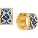 ケイト スペード kate spade new york ユニセックス イヤリング・ピアス フープピアス ジュエリー・アクセサリー【Gold-Tone Flower Huggie Hoop Earrings】Med Blue