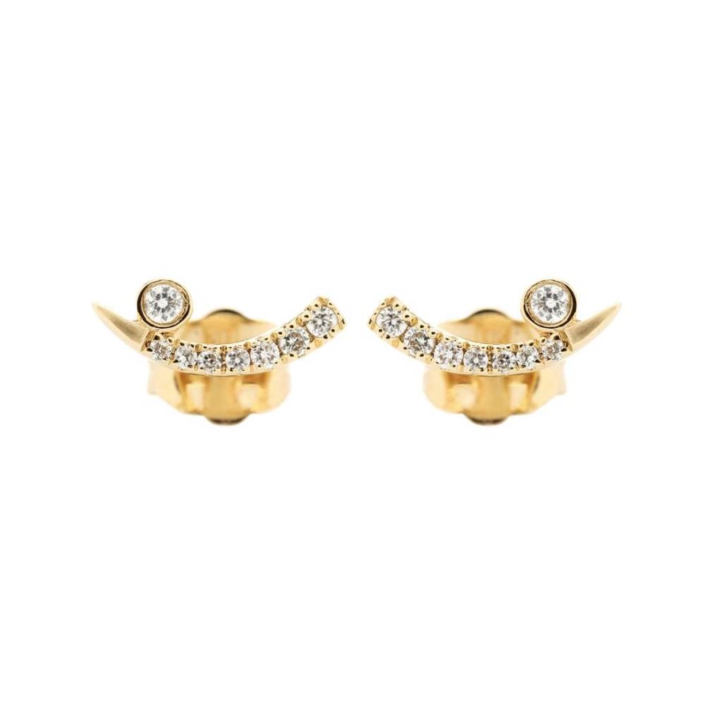シドニーエヴァン Sydney Evan レディース アクセサリー イヤリング・ピアス【Tusk 14kt yellow gold and diamond earrings】 シドニーエヴァン レディース アクセサリー イヤリング・ピアス 【サイズ交換無料】