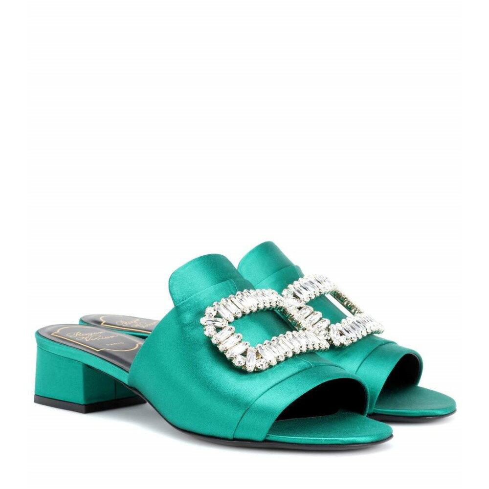 ロジェ ヴィヴィエ レディース シューズ・靴 サンダル・ミュール【New Strass embellished satin sandals】Green