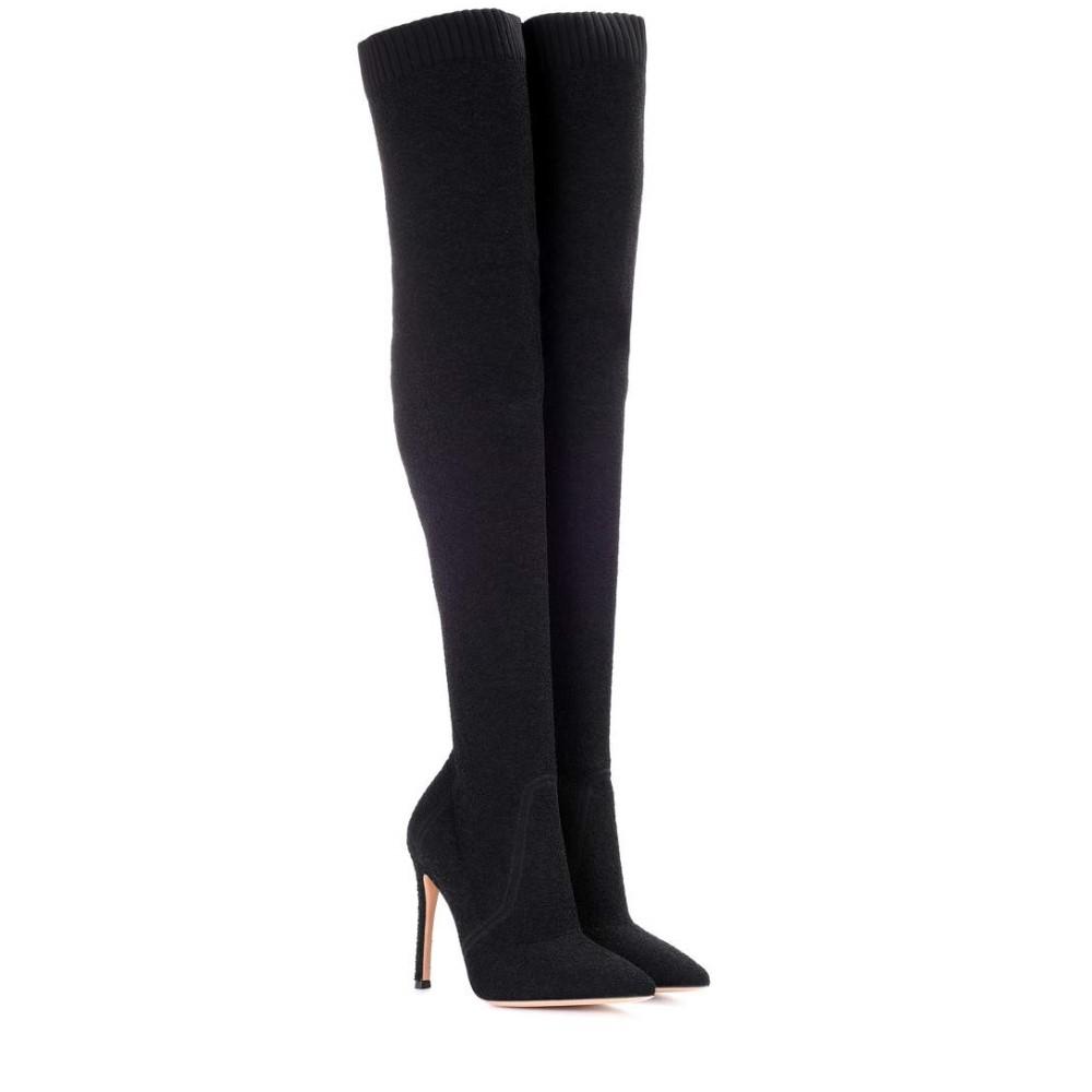 ジャンヴィト ロッシ レディース シューズ・靴 ブーツ【Knitted over-the-knee boots】Black