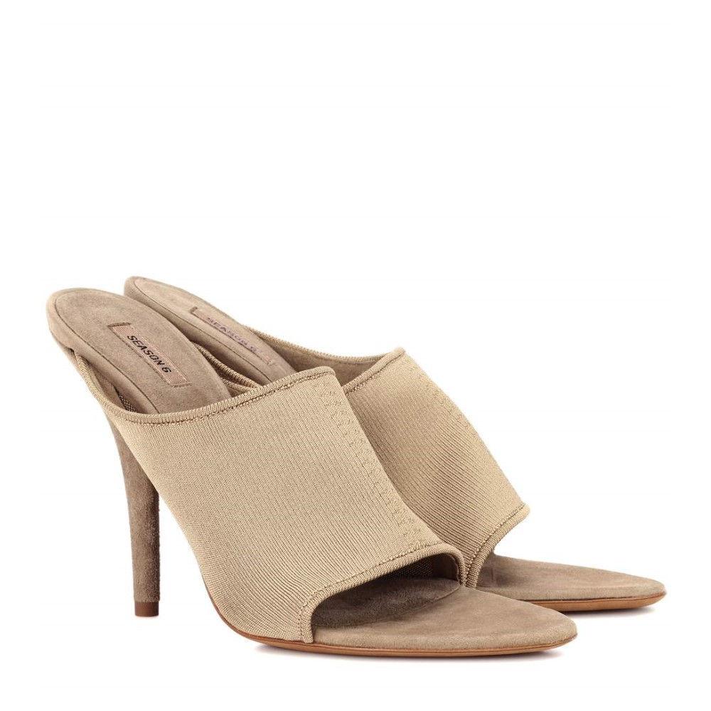 アディダス イージー レディース シューズ・靴 サンダル・ミュール【Suede and knit sandals (SEASON 6)】Green Ochre
