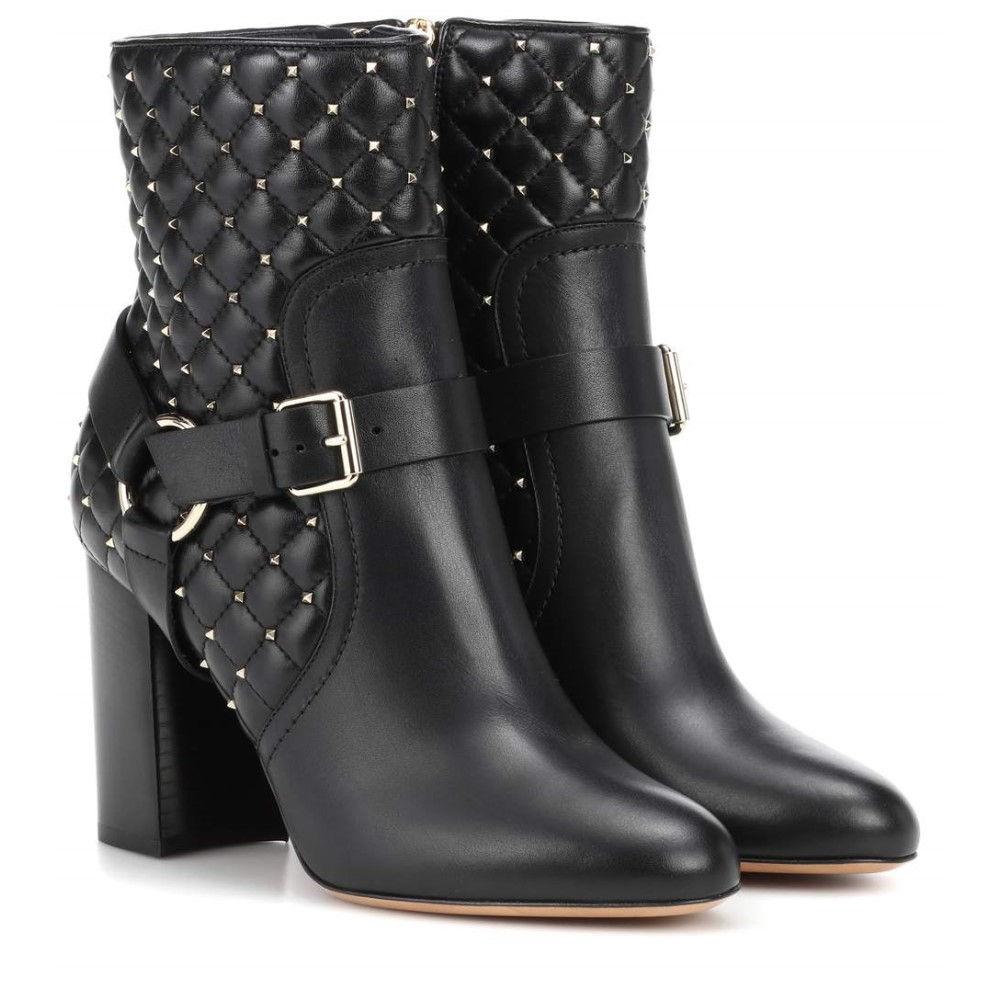 ヴァレンティノ レディース シューズ・靴 ブーツ【Valentino Garavani Rockstud Spike leather ankle boots】Nero