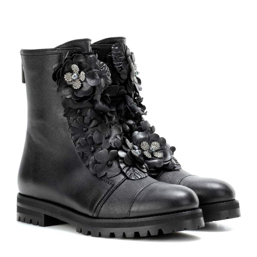 ジミー チュウ レディース シューズ・靴 ブーツ【Havana Flat leather boots】BLACK