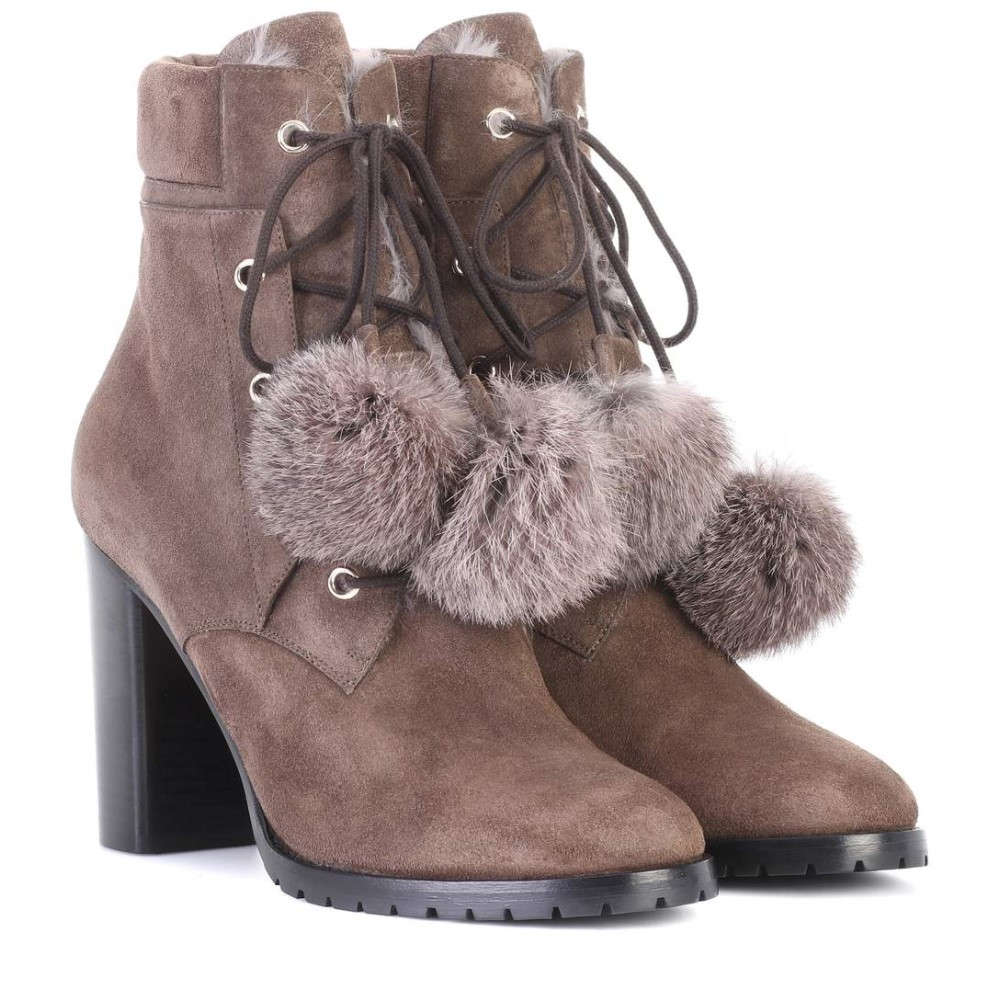 ジミー チュウ レディース シューズ・靴 ブーツ【Elba 95 fur-lined suede boots】Mink