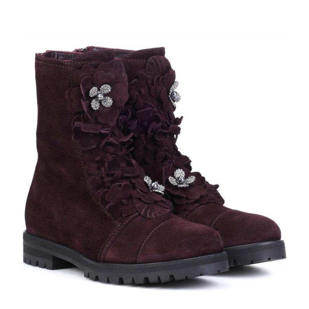 ジミー チュウ レディース シューズ・靴 ブーツ【Havana Flat suede boots】Burgundy