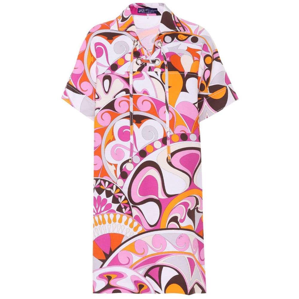 エミリオ プッチ レディース 水着・ビーチウェア ビーチウェア【Printed cotton dress】Peonia Arancio
