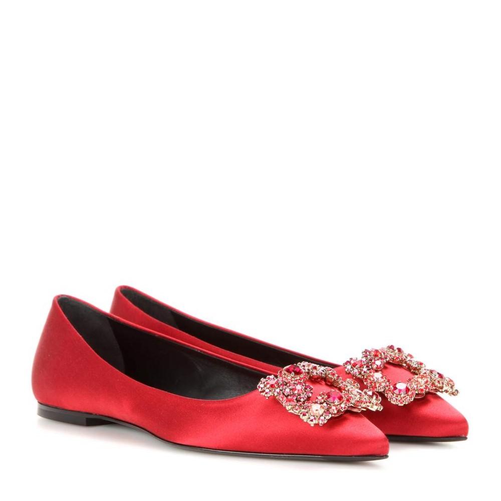ロジェ ヴィヴィエ レディース シューズ・靴 スリッポン・フラット【Embellished satin ballerinas】RED