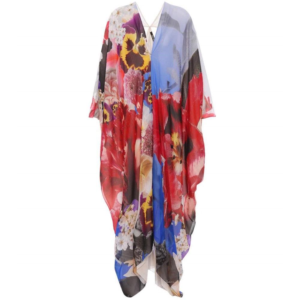 ロベルト カヴァリ レディース 水着・ビーチウェア ビーチウェア【Floral-printed silk dress】Bright Blue