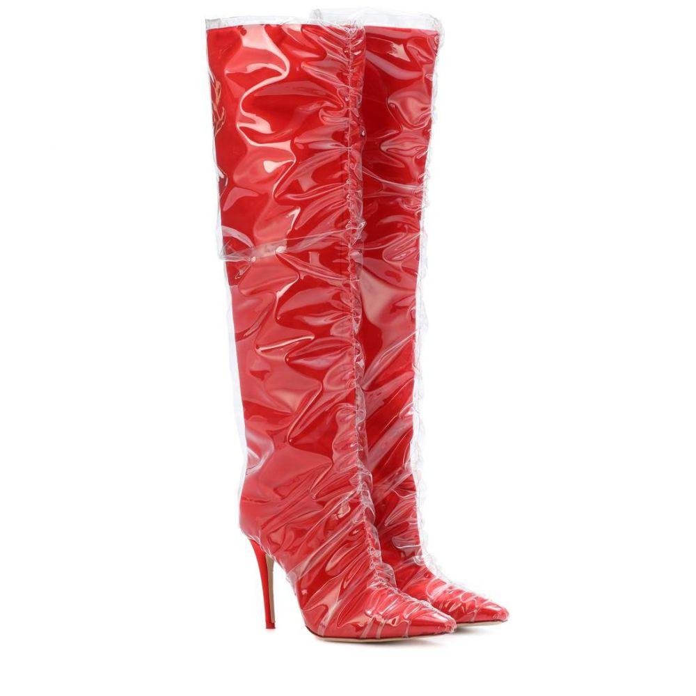 ジミー チュウ レディース シューズ・靴 ブーツ【X Off-White Elisabeth 100 satin boots】Red/Transparent