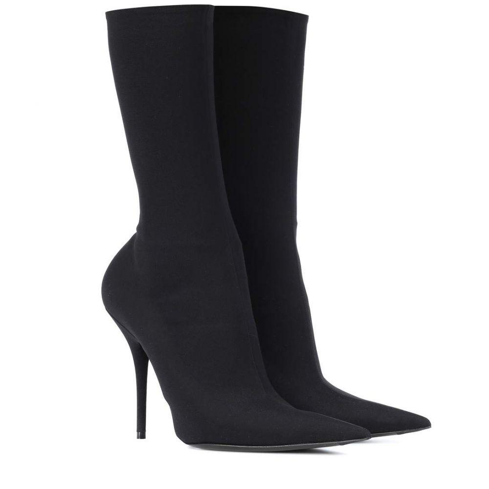 バレンシアガ レディース シューズ・靴 ブーツ【Knife stretch-jersey ankle boots】Noir