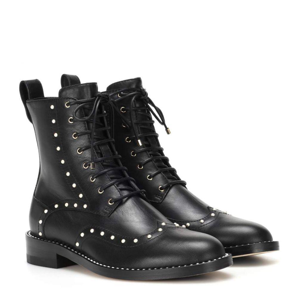 ジミー チュウ レディース シューズ・靴 ブーツ【Hana Flat leather ankle boots】Black