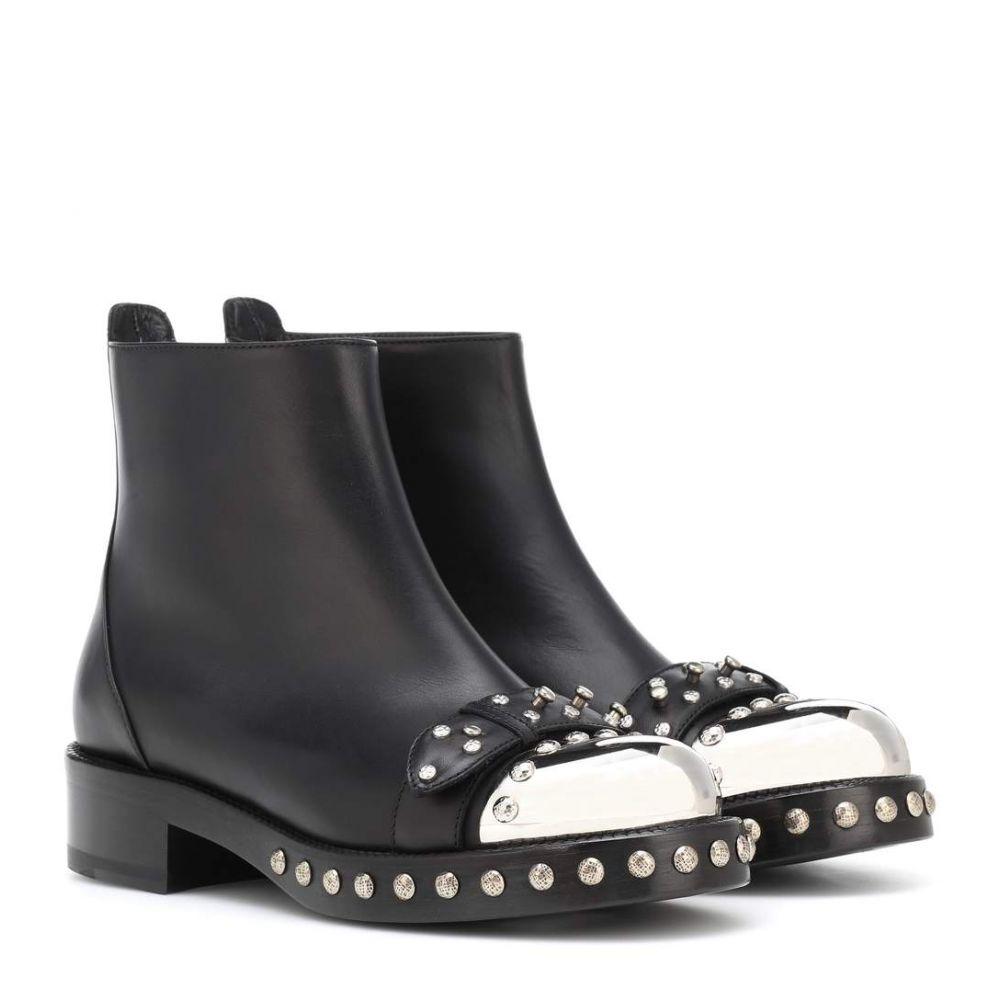 アレキサンダー マックイーン レディース シューズ・靴 ブーツ【Hobnail leather ankle boots】Black