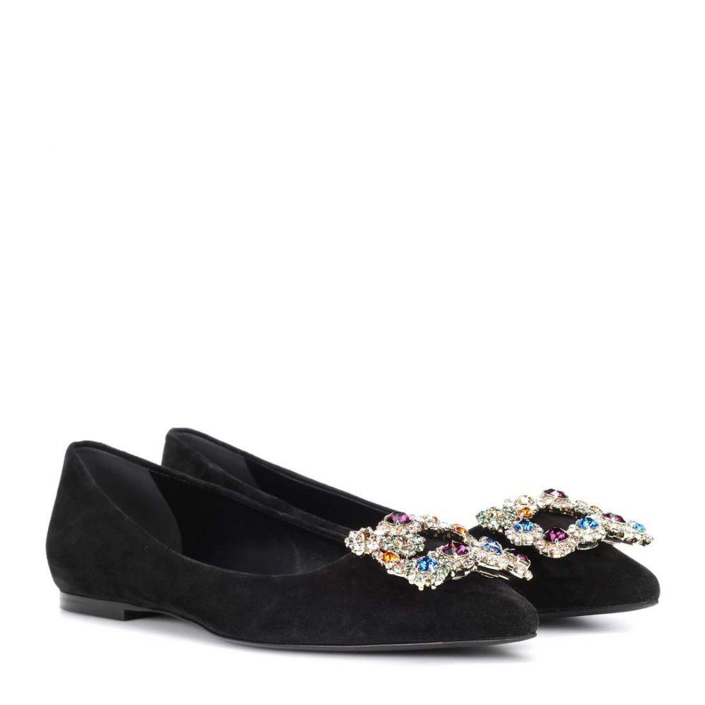 ロジェ ヴィヴィエ レディース シューズ・靴 スリッポン・フラット【Flower Buckle suede ballet flats】Black