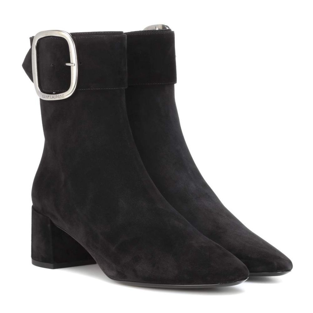 イヴ サンローラン Saint Laurent レディース シューズ・靴 ブーツ【Joplin 50 suede ankle boots】Noir