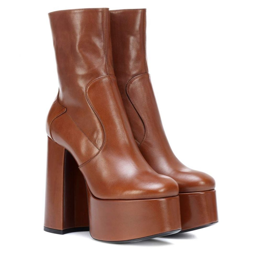 イヴ サンローラン Saint Laurent レディース シューズ・靴 ブーツ【Billy 140 leather ankle boots】Dark Brown