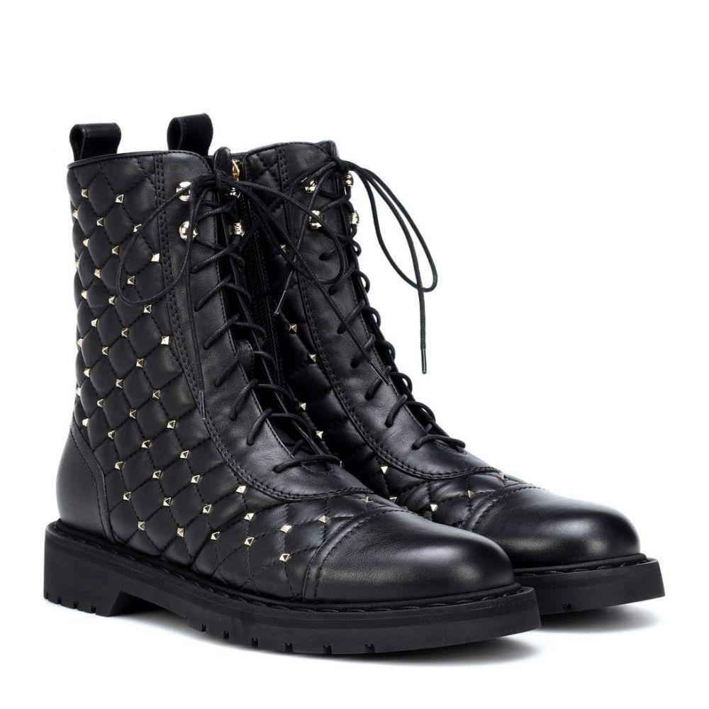 ヴァレンティノ Valentino レディース シューズ・靴 ブーツ【Garavani Rockstud leather ankle boots】Black
