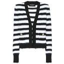 ショッピングスーツ バルマン Balmain レディース アウター スーツ・ジャケット【Striped knit jacket】Noir/Blanc