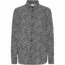 ショッピングイヴサンローラン イヴ サンローラン Saint Laurent レディース ブラウス・シャツ トップス【Printed cotton shirt】Noir Craie