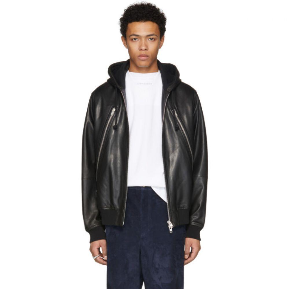 メゾン マルジェラ メンズ アウター レザージャケット【Black Leather Hoodie Jacket】