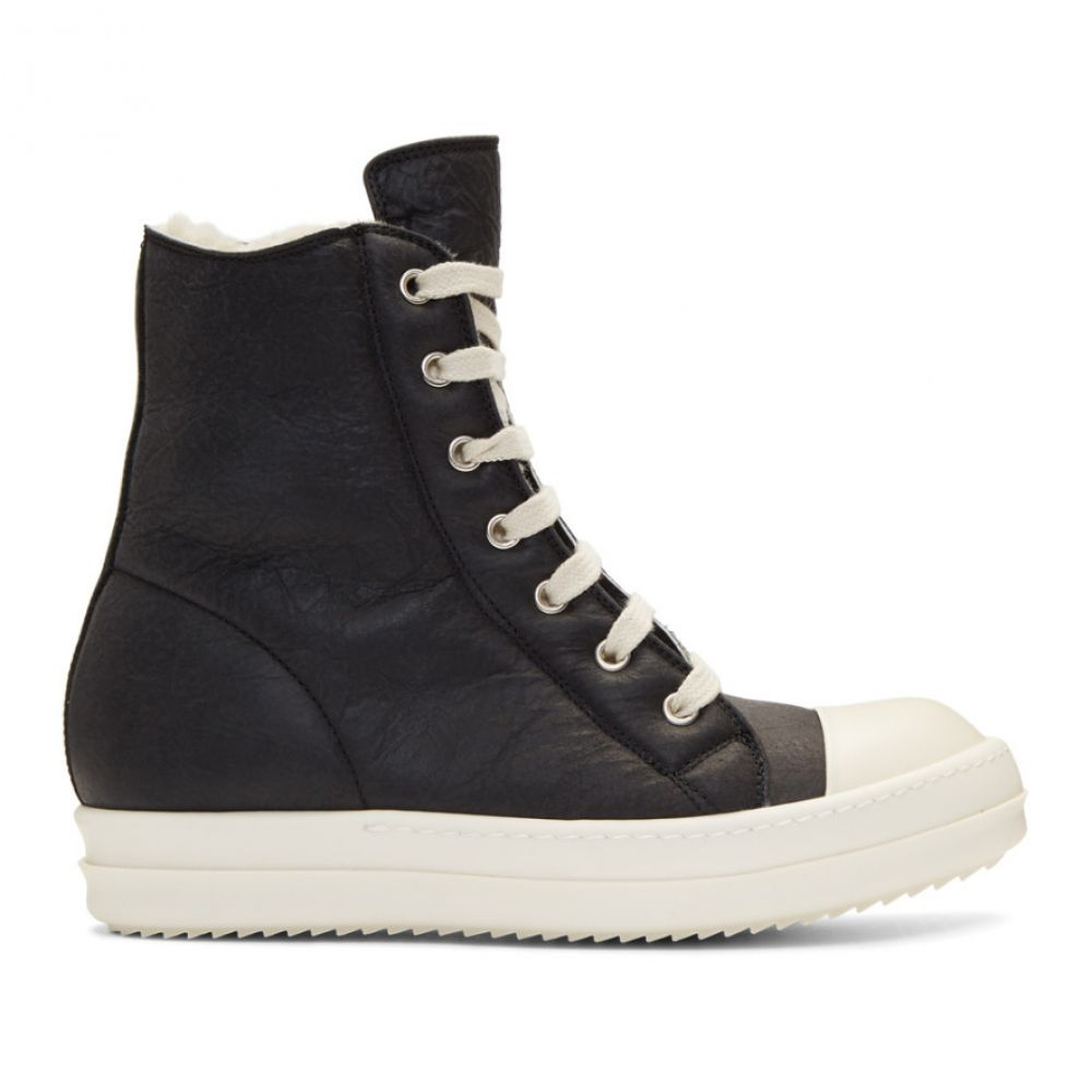 リック オウエンス レディース シューズ・靴 スニーカー【Black Shearling High-Top Sneakers】
