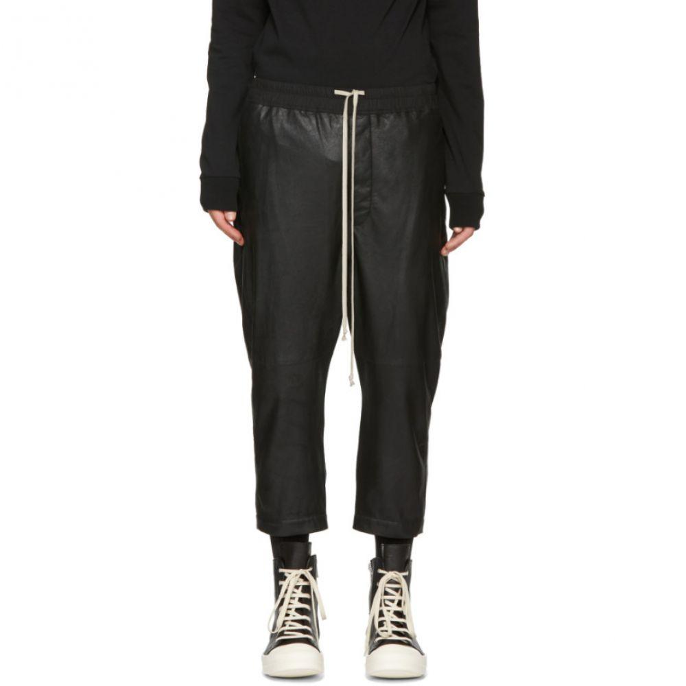 リック オウエンス メンズ ボトムス・パンツ【Black Leather Astaires Trousers】