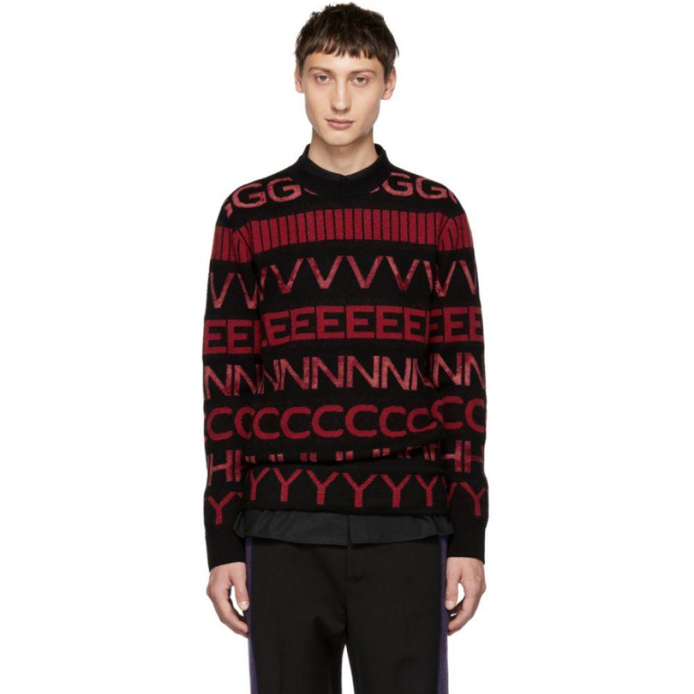 ジバンシー メンズ トップス ニット・セーター【Black & Red Vertical Logo Sweater】