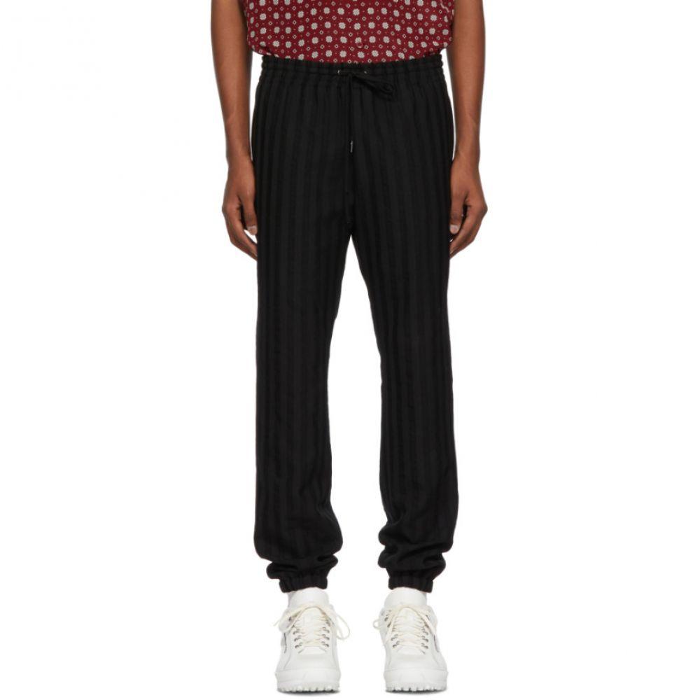 イヴ サンローラン Saint Laurent メンズ ボトムス・パンツ スラックス【Black Striped Wool Trousers】