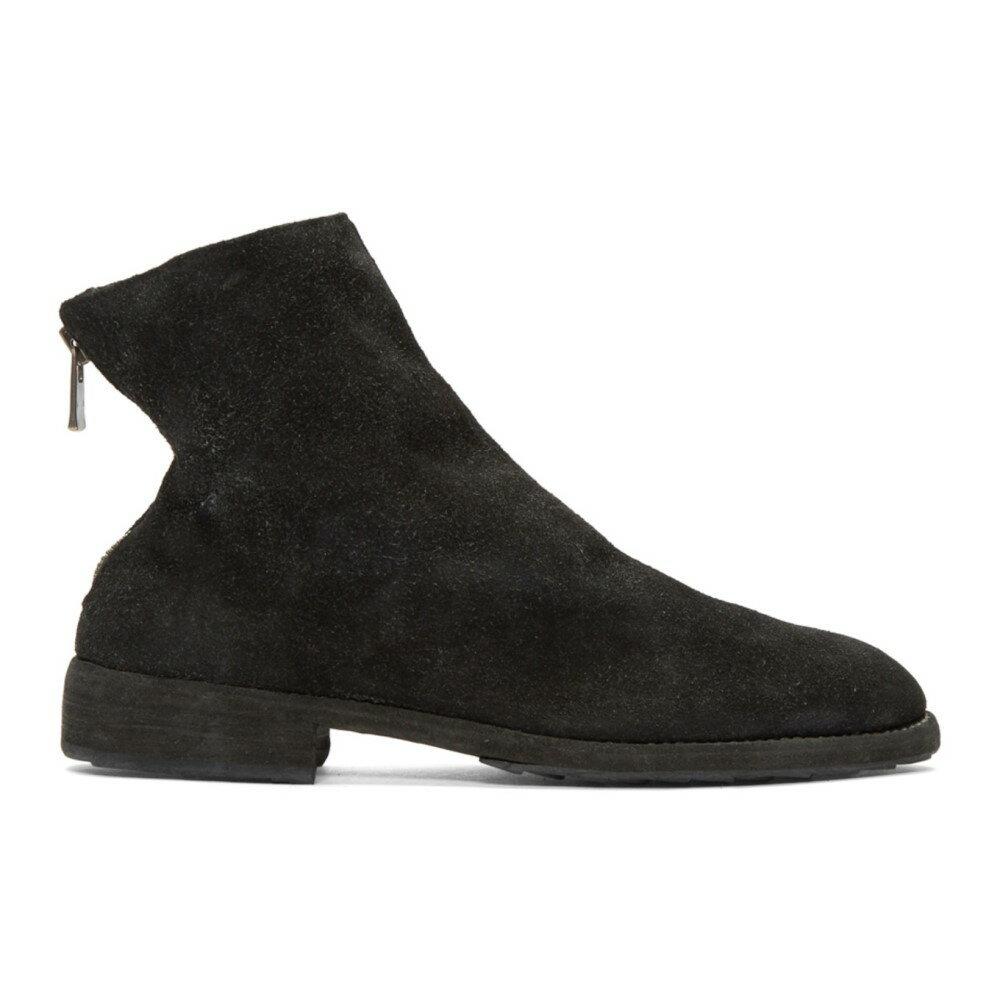グイディ メンズ シューズ・靴 ブーツ【Black Suede Oxford Back Zip Boots】