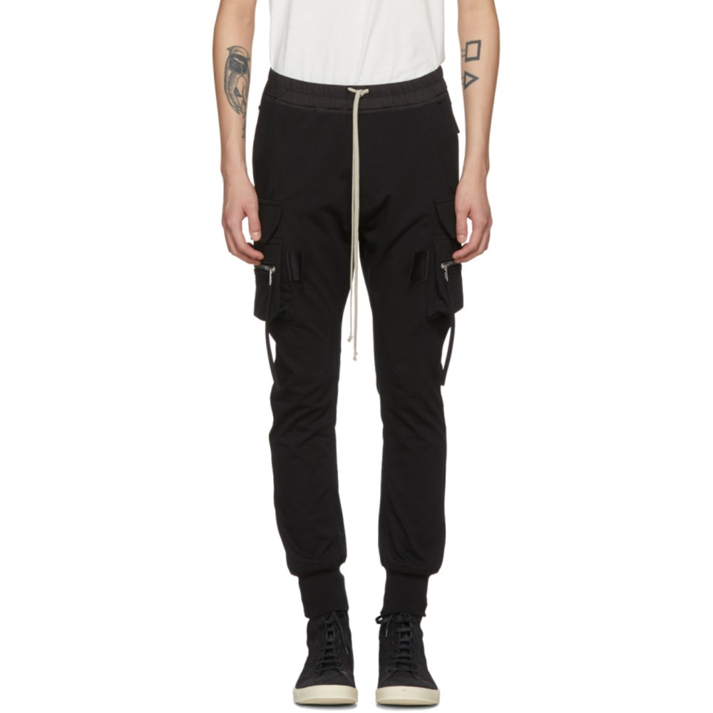 リック オウエンス メンズ ボトムス・パンツ カーゴパンツ【Black Cotton Jog Cargo Pants】