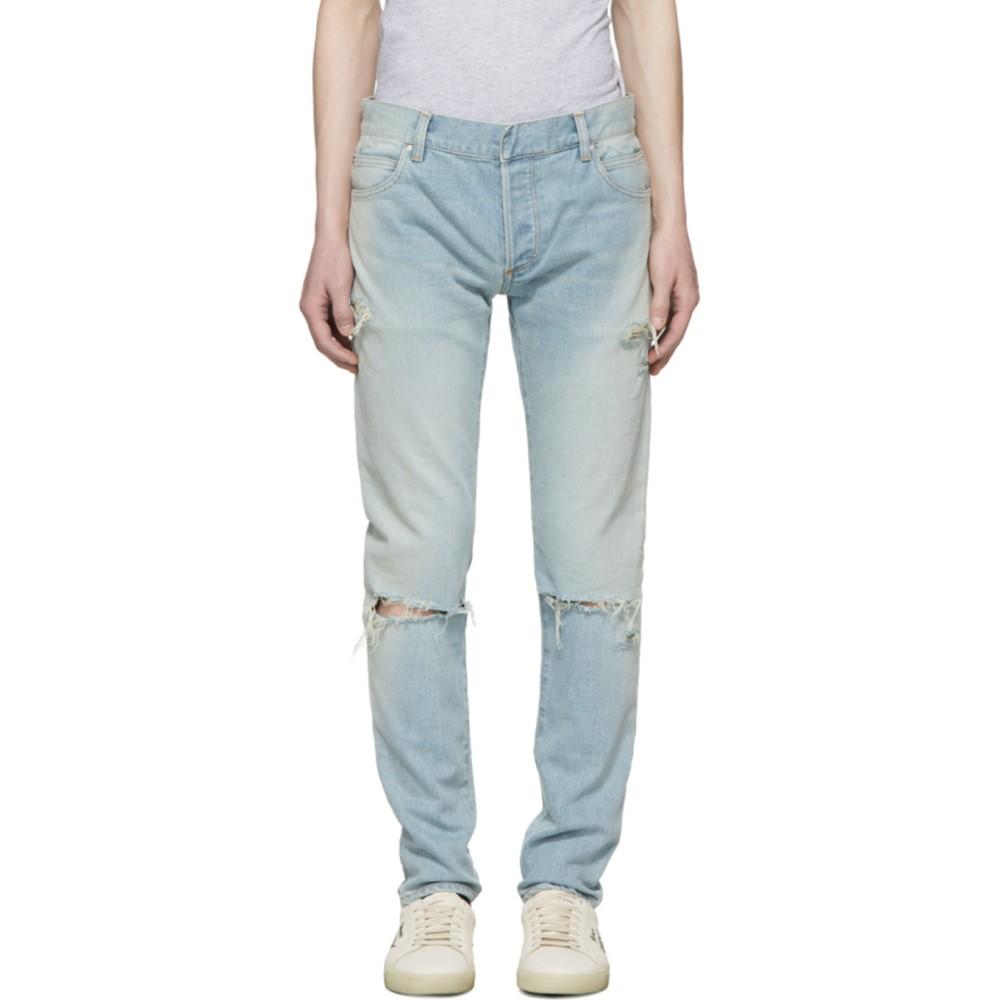 バルマン メンズ ボトムス・パンツ ジーンズ・デニム【Blue Six-Pocket Vintage Distressed Jeans】