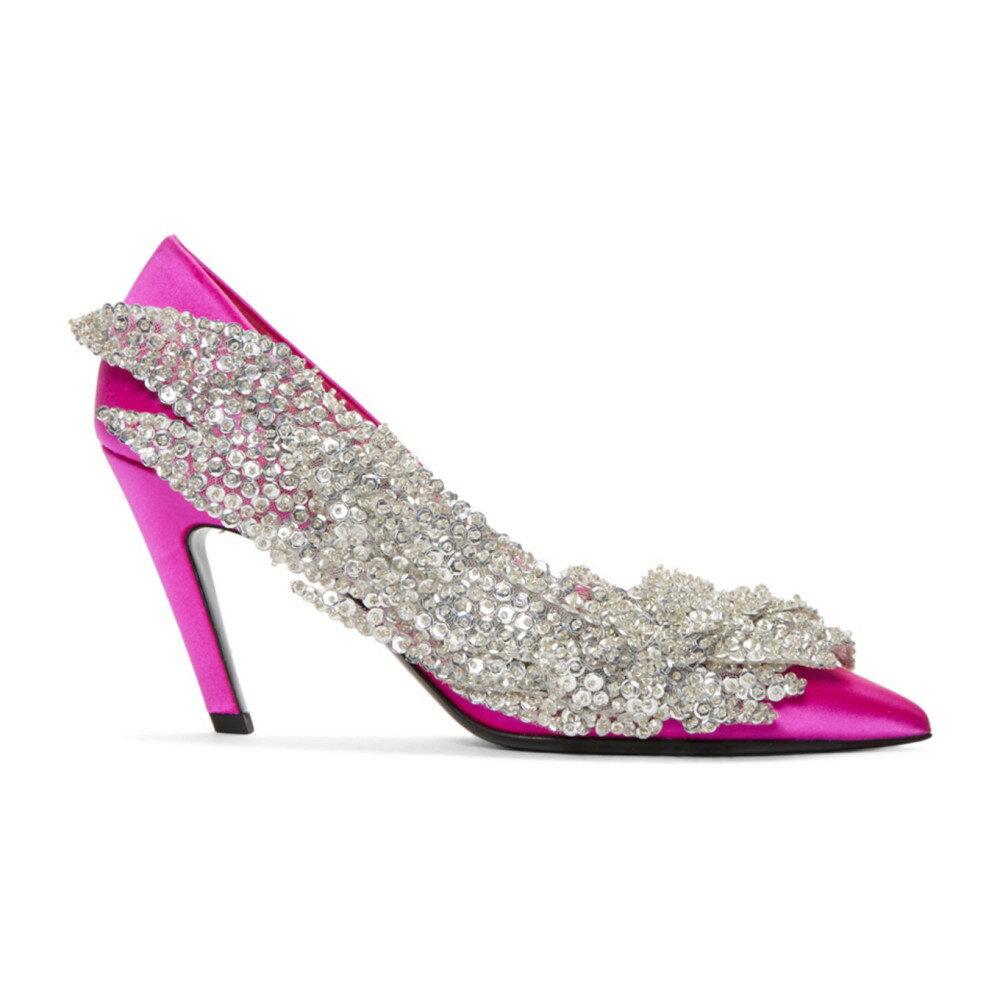 バレンシアガ レディース シューズ・靴 ヒール【Pink Satin Broderie Heels】
