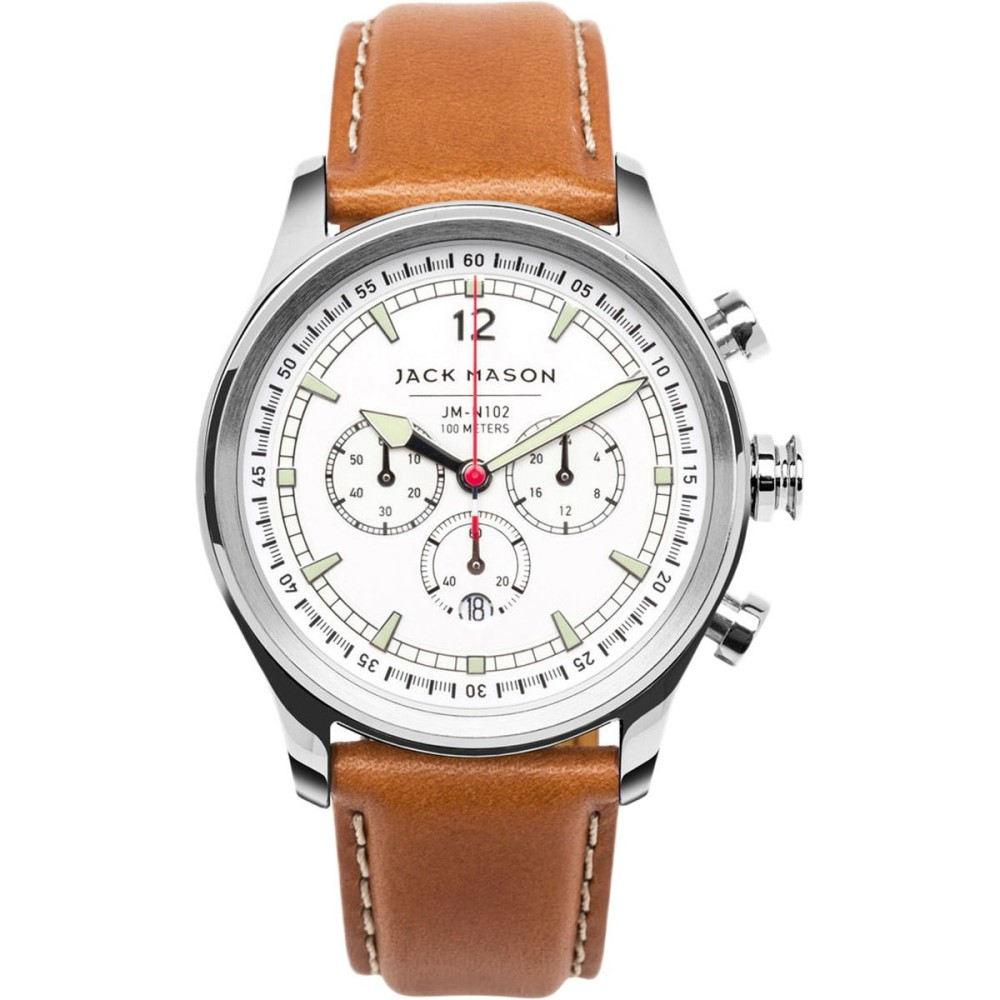 ジャックメーソン Jack Mason メンズ アクセサリー 腕時計【N102 Nautical Collection SS Leather Watch】White Dial/Tan Leather ジャックメーソン メンズ アクセサリー 腕時計 【サイズ交換無料】