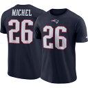 ショッピングsony ナイキ Nike メンズ Tシャツ トップス【New England Patriots Sony Michel #26 Logo Navy T-Shirt】