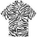 ショッピングボックス ユニフォームエクスペリメント Uniform Experiment メンズ 半袖シャツ トップス【short sleeve zebra rayon wide box shirt】White