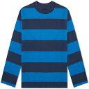 ブルーブルージャパン Blue Blue Japan メンズ スウェット・トレーナー トップス【bold stripe crew sweat】Navy