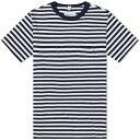 ショッピングアルバム アルバム Albam メンズ Tシャツ トップス【Striped Tee】Navy/White