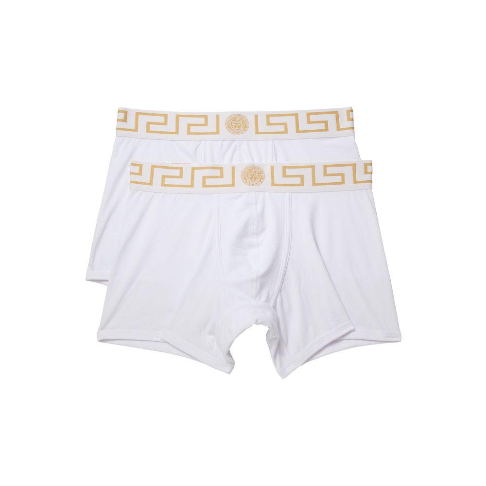 ヴェルサーチ メンズ インナー・下着 ボクサーパンツ【Long Trunk 2-Pack】White/White/Gold Greca
