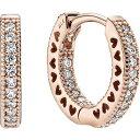 パンドラ Pandora レディース イヤリング・ピアス ジュエリー・アクセサリー【Signature Pave Hearts CZ Earrings】Rose Gold